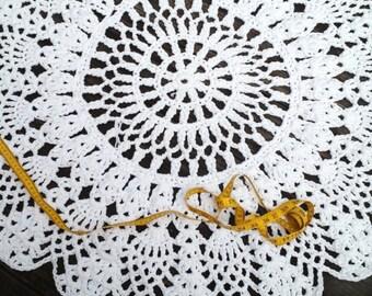 """Crochet Doily Rug White 39"""" 100 cm"""