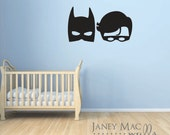 Batman and Robin Super Hero Masks Wall Decal - Vinyl Wall Sticker Marvel Superhero - Boys Bedroom Decor - CB170