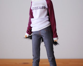 Medium gray denim slimfit jeggings jeans - SD DELF BJD clothes