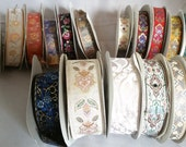 17 spools of Jacquard Woven Ribbons - red, blue, cream, white, ivory, green,iridescent, floral, vintage looking trim