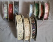 10 Spools of Vintage Jacquard Ribbon / Trim, Blue, Green, Red, Cream, White, Light Blue, Pink