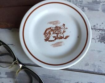 Vintage Buffalo China Restaurant Ware - Rodeo Plate Restaurantware Bucking Bronco Horse Small Dish