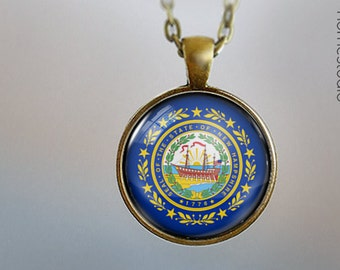New Hampshire Flag : Glass Dome Necklace gift present by HomeStudio. Round art photo pendant jewelry. Available as Key Ring Keychain