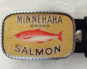 Salmon Fishing belt buckle.  Fathers Day Fishing Gifts for Dad.  Fishing Art.