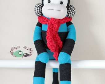 One sock MONKEY 13.5 inches - black/blue in red scarf