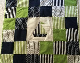 Anchors Away Baby Quilt (Blue & Green)