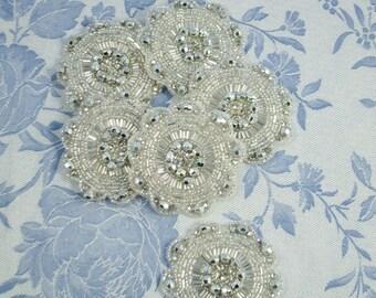Silver Beaded Applique Round Flower Medallion Art Nouveau Style