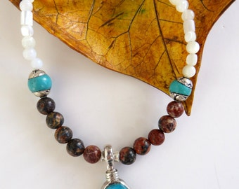 Turquoise Pendant Necklace, Jasper, Turquoise, Mother of Pearl