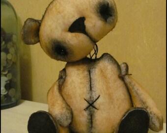 Whimsical well loved bear doll primitive animal farm kitchen Doll creepy cute country decor Farm HaFair