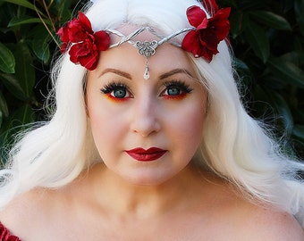 Flower Crown in Silver and Red, Wedding Headpiece,Wedding Accessory,Wedding Wreath,Floral Crown, Fairy, Renaissance, Costume