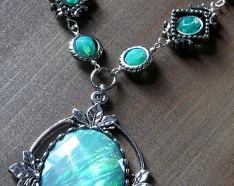 Neo victorian Jewelry - Necklace - Aqua Opalescent Pendant and Uranium glass beads - Silver Tone