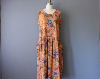 vintage tropical dress / floral batik tent dress / dropped waist dress / large