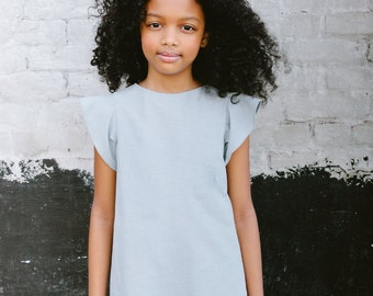 Clothing, Dress, Girls Blue Chambray Cotton Dress, Cute Kids Clothes, Baby Dress, Toddler Dress, Little Girl Dress, Lilla Grey