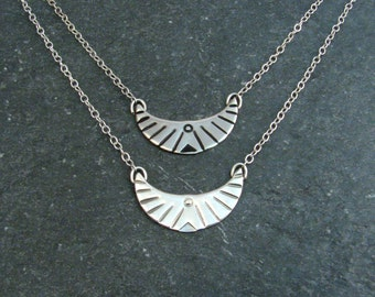 Silver Bird Necklace - Free Bird Tribal Design - Freedom Symbol Necklace - Short Choker Layering Necklace - Flying Bird Necklace