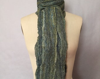 Green Felted Scarf Multi Color Unisex Fiber Art OOAK - Moss SALE
