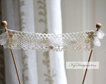 Hearts Cake banner in off white tones, crochet, chiffon and applique on twine