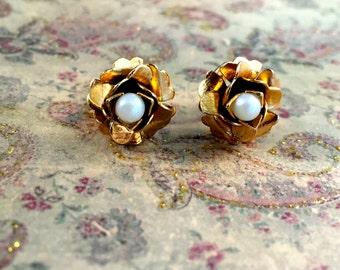 Petite Vintage Gold Tone Textured Flower Earrings With Faux Pearl Centers