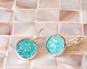 Aqua druzy earrings, faux druzy earrings, lever back earrings, Drusy earrings, bridesmaid earrings, leverback earrings, druzy