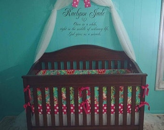 Hot pink white polka dot Canopy Crown Nursery Princess Crib WHITE SHEER curtains INCLUDED custom made by So Zoey Boutique