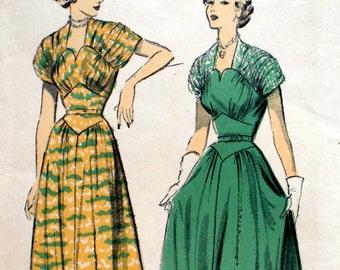 Vintage 1940s 1950s Evening Dress Pattern Advance 5210 Bust 32 Factory Folded Wedding Dress