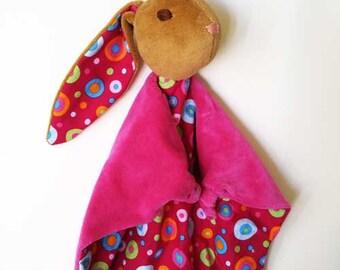 Baby Bunny Blanket , All Natural Materials,Pink Dots