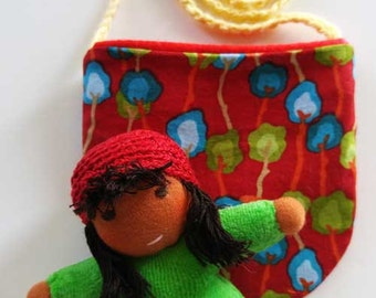 Waldorf inspired Pocket Doll Red and Green