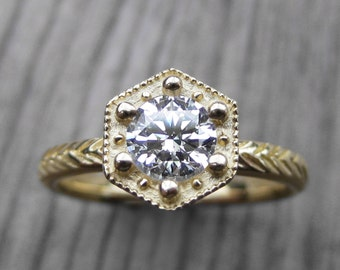 Moissanite Hexagon Feather Engagement Ring: White, Yellow, or Rose Gold; Forever One™
