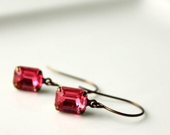 Pink Rhinestone Earrings / Pink Petites / Pink Rose Vintage Jewel Earrings / Estate Style Jewelry / Glass Rectangle / Small Glass Jewels