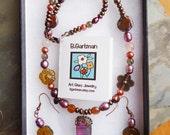 Smokey Quartz, Copper, Pearl and Dichroic Glass Necklace Set