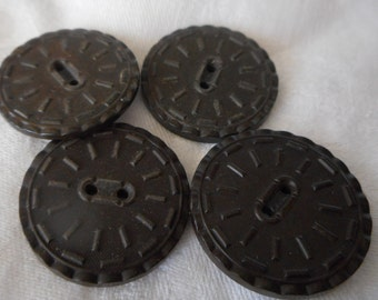 Set of 4 Larger ANTIQUE Black Goodyear Rubber Sew Thru BUTTONS