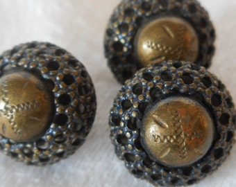 Set of 3 ANTIQUE Small Pierced Rounded Metal BUTTONS