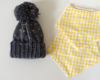 Baby Knit Hat and Bandana Bib Gift Set | Gift for Baby | Ready To Ship | Charcoal Grey and Ivory Knit Baby Beanie | Yellow Gingham Bibs