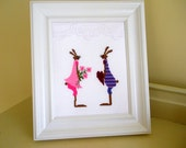 Framed Rabbit Cross Stitch Picture, Easter Cross Stitch Wall or Desk Picture