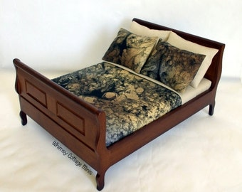 Dollhouse Miniature Dressed Bed - 1/12th Scale