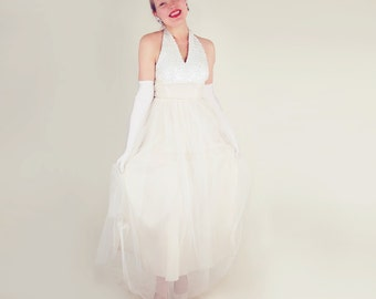 50s Long White Halter Neck Gown with Opalescent Sequin Bodice M L