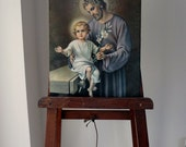 Vintage Religious Print Baby Jesus and Joseph Large Size - EnglishPreserves