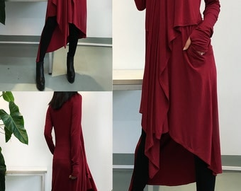Music Flows - Burgundy Extravegant dress / Thumb Hole maxi Blouse / Long Sleeve dress Asymmetric Kaftan / Asymmetric Maxi dress (Q1712)