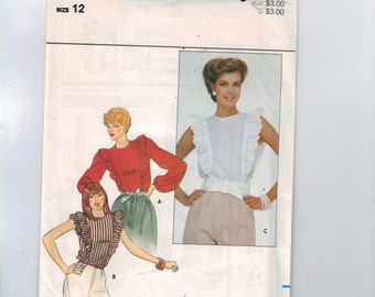 1980s Vintage Sewing Pattern Butterick 4403 Misses Ruffled Blouse Eyelet Lace Size 12 Bust 34 80s 1980s UNCUT