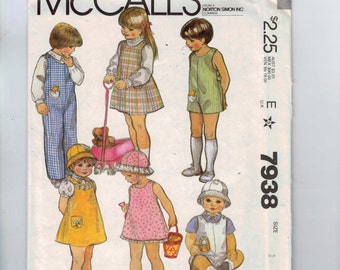 1980s Vintage Sewing Pattern McCalls 7938 Girls Sundress Jumper Romper Boys Toddler Hat Stuffed Toy Size 1 Breast 20 80s 1982 UNCUT  99