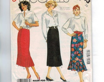 1980s Vintage Sewing Pattern McCalls 2603 Easy Skirt with Kick Pleats Flounce Size 14 Bust 36 Waist 28 80s 1986