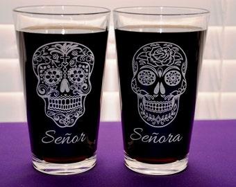 2 Personalized Engraved Sugar Skull Wedding/Anniversary Glasses, Dia De Los Muertos, Day of the Dead, Cinco De Mayo, Custom Couples Gift