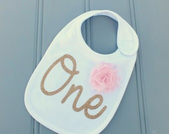 First Birthday Outfit Girl Bib, 1st Birthday Outfit Girl Bib, Baby Bib, First Birthday Gift Girl, Birthday Girl Bib, Pink and Gold