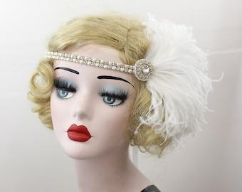 Great Gatsby Crystal Headband, Pearl Hair Accessory, Feather Fascinator, Flapper Headpiece, Feather Headband, Bridal Headpiece