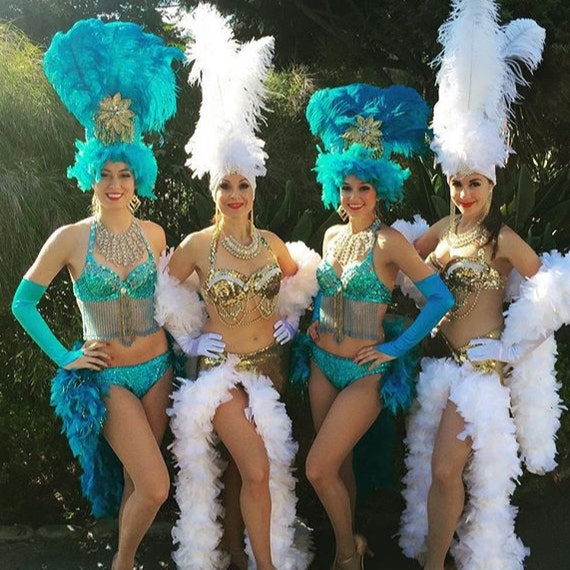 Viva Las Vegas Showgirl Head Dress ,Gold, Turquoise Blue, Ostrich Feather, any color, you choose