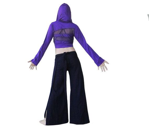 ON SALE- Purple Crop Top Hoodie - Sheer Back, Long Sleeves, Big Hood