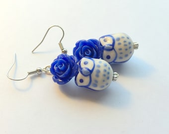 Pastel and Royal Blue Owls and Roses Handmade Earrings