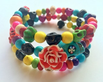 Extra Large Bright Day of the Dead Sugar Skull Memory Wire Bracelet