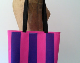 SALE! Sporty Striped Canvas Beach Tote/Purse, made from soil and stain repellent marine canvas