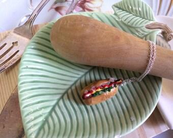 Yummy Junk Food Hot Dog Charm Necklace