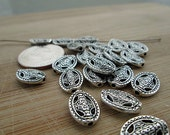 Metal Beads, Silver Metal Spacers, Small Oval Beads, Cut Out Design, Small Silver Bead, 14x10mm, QTY 20 - bm82
